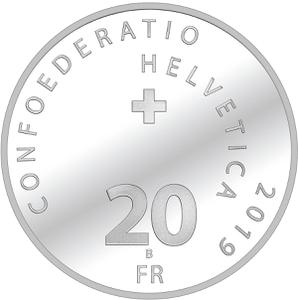 Switzerland / Twenty Francs 2019 Moon Landing - obverse photo