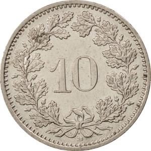 Switzerland / Ten Centimes (Rappen) 1987 - reverse photo