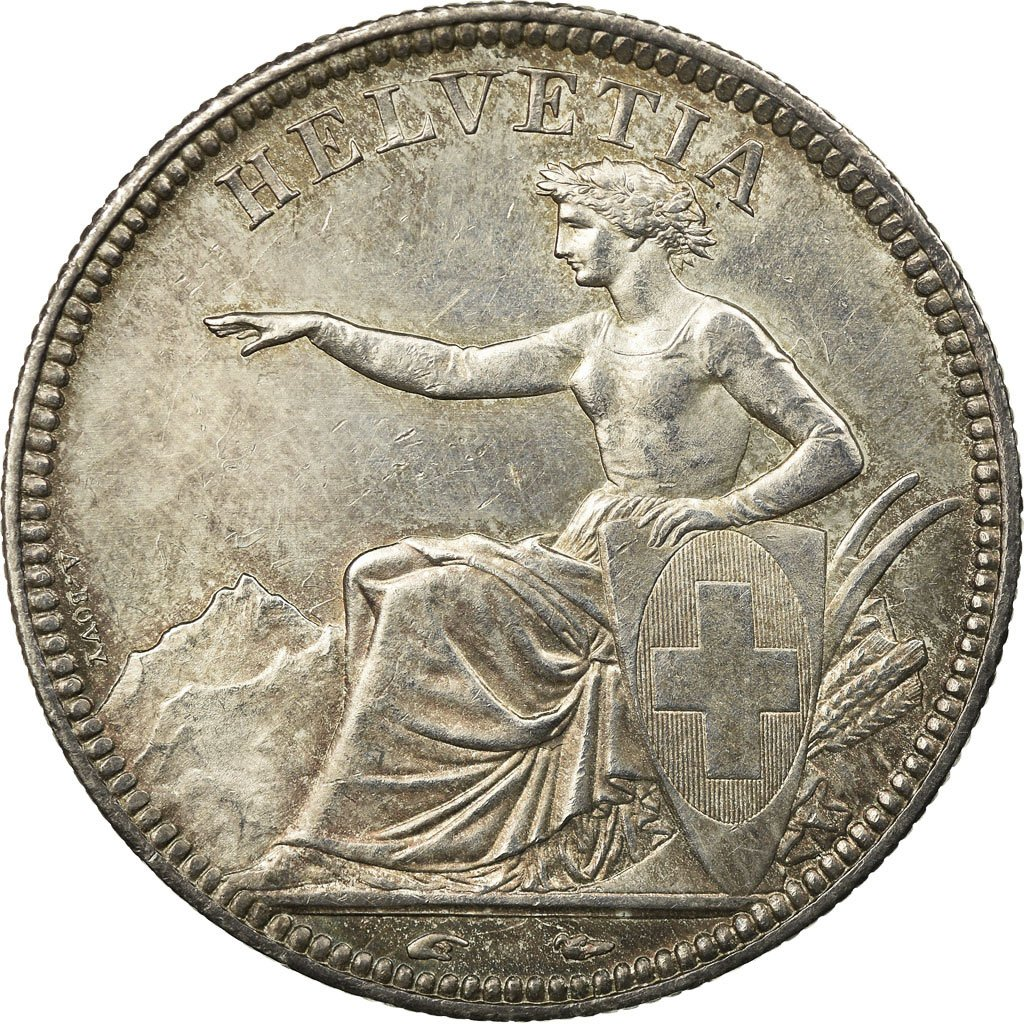 Five Francs, Seated Helvetia: Photo Coin, Switzerland, 5 Francs, 1851