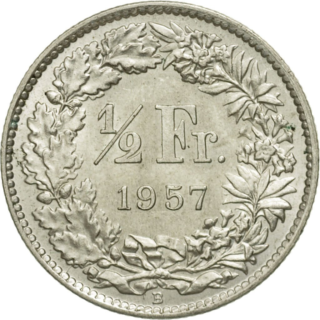 Half Franc, Silver: Photo Coin, Switzerland, 1/2 Franc, 1957