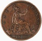 Penny 1893: Photo Coin - Penny, Queen Victoria, Great Britain, 1893
