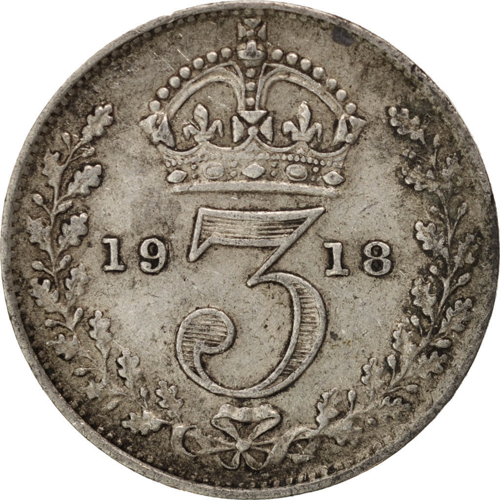 Threepence 1918 (Circulating): Photo Great Britain, George V, 3 Pence, 1918