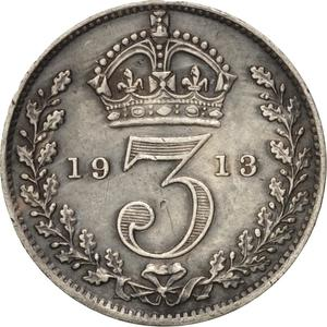 United Kingdom / Threepence 1913 (Circulating) - reverse photo