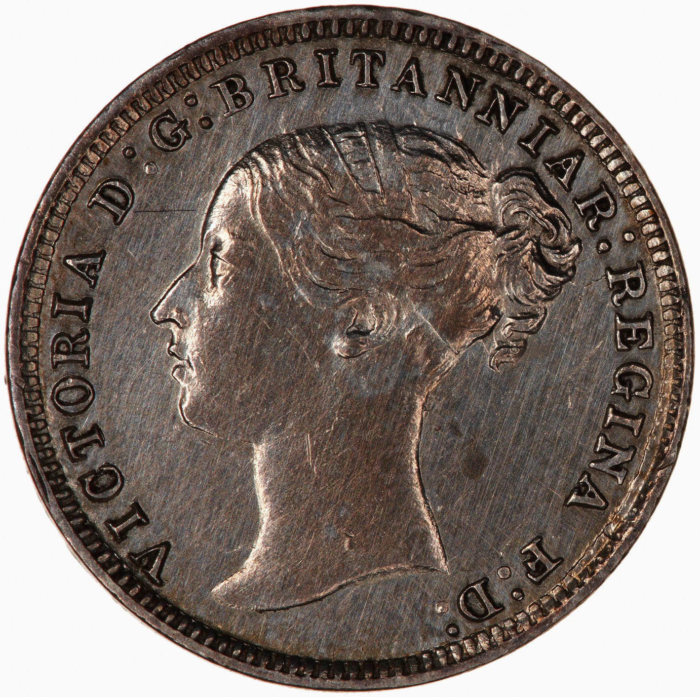 Threepence (First Design): Photo Coin - Threepence, Queen Victoria, Great Britain, 1877