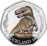 United Kingdom / Fifty Pence 2020 Megalosaurus / Silver Proof FDC Colour - reverse photo