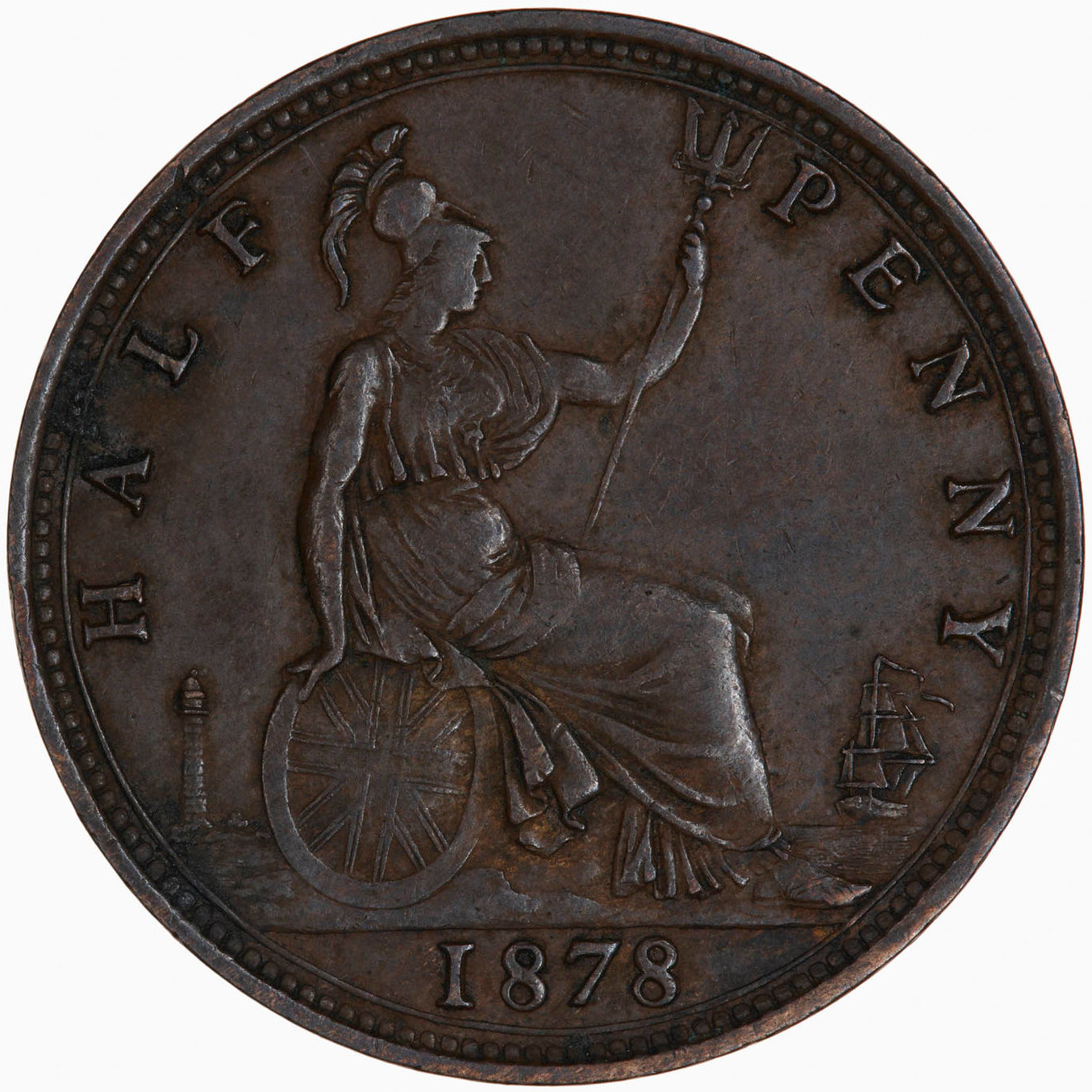 Halfpenny 1878: Photo Coin - Halfpenny, Queen Victoria, Great Britain, 1878