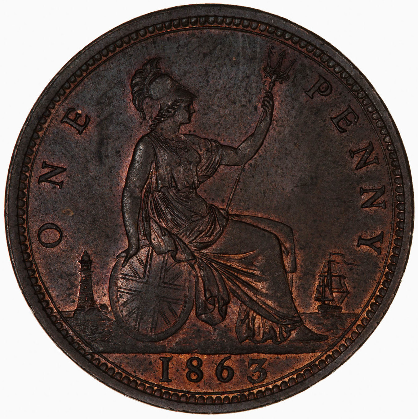 Penny (Pre-decimal): Photo Coin - Penny, Queen Victoria, Great Britain, 1863