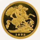 Half Sovereign 1893 St George: Photo Gold 1/2 sovereign, London (England)