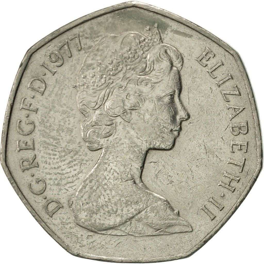 Fifty Pence 1977: Photo Great Britain, Elizabeth II, 50 New Pence, 1977