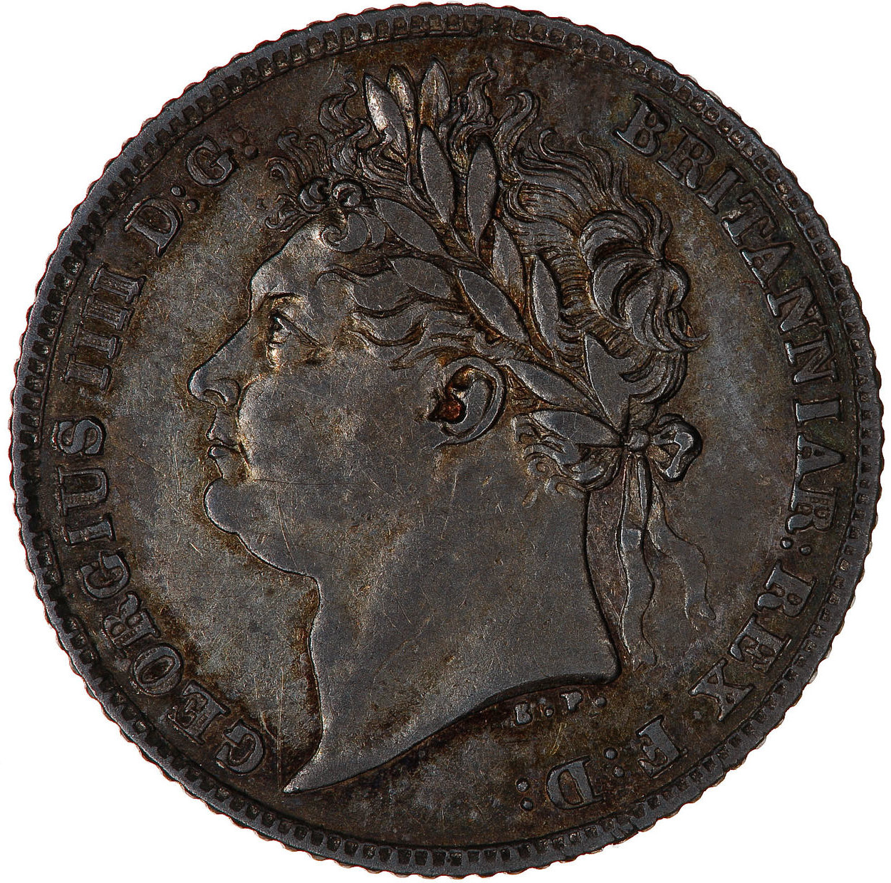 Sixpence 1824: Photo Coin - Sixpence, George IV, Great Britain, 1824