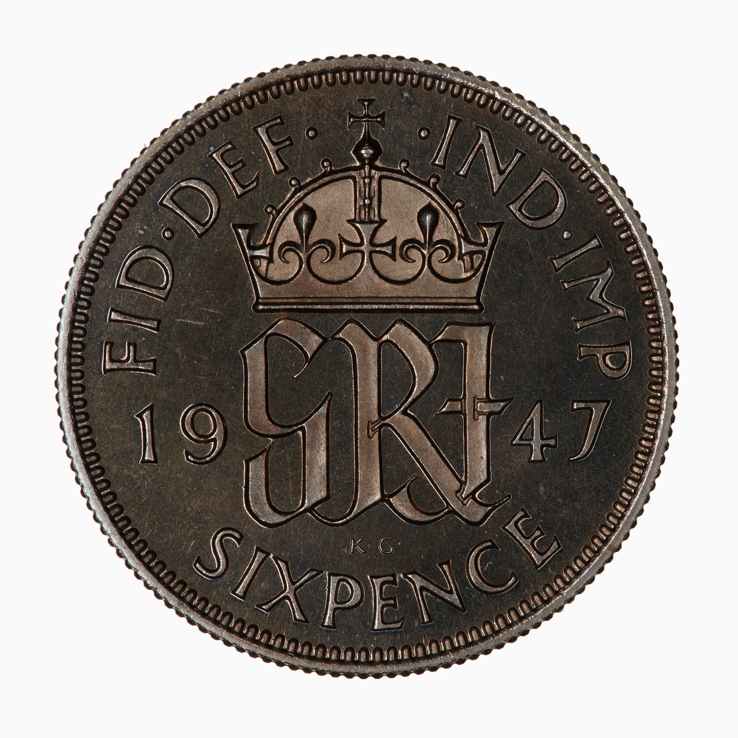 Sixpence: Photo Proof Coin - Sixpence, George VI, Great Britain, 1947