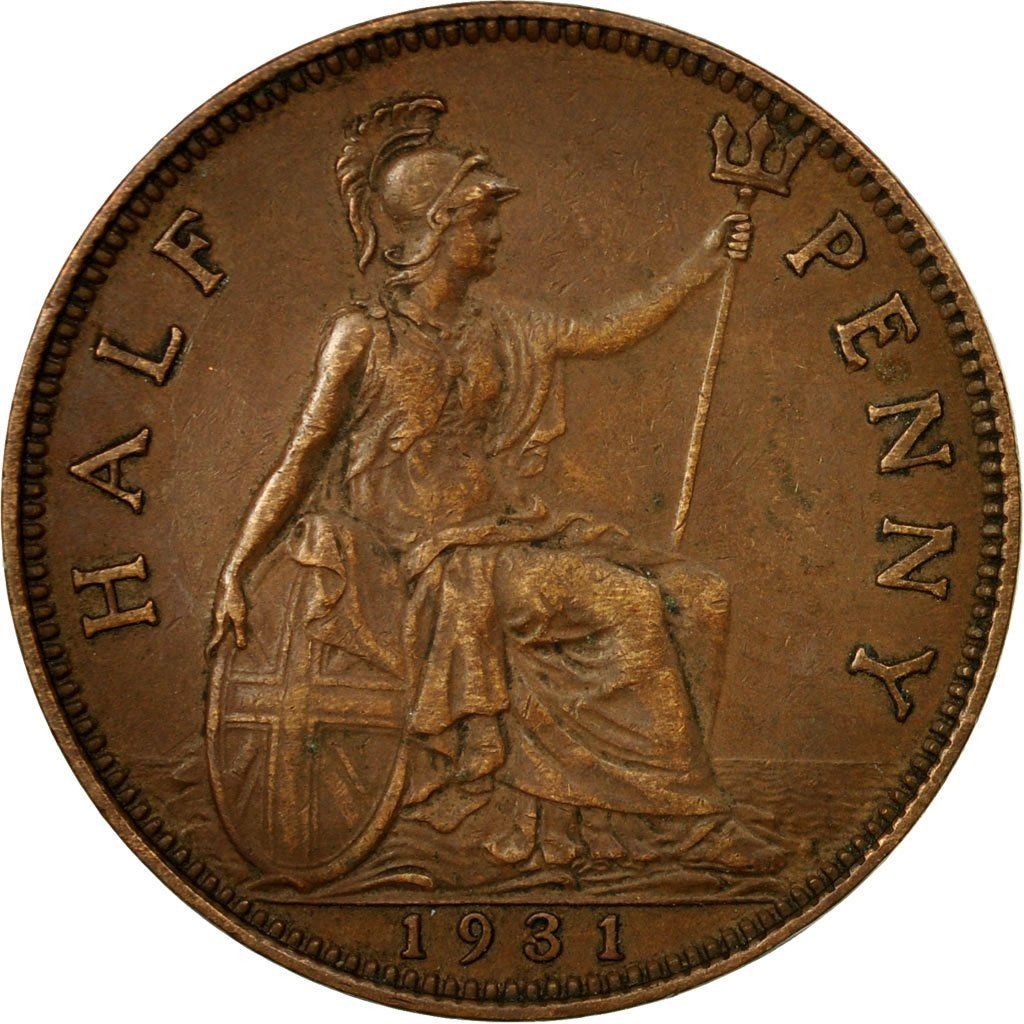Halfpenny 1931: Photo Coin, Great Britain, George V, 1/2 Penny, 1931