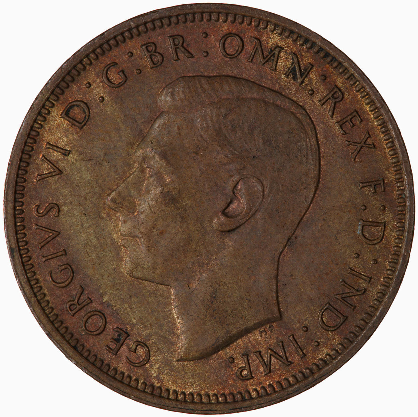 Halfpenny 1944: Photo Coin - Halfpenny, George VI, Great Britain, 1944