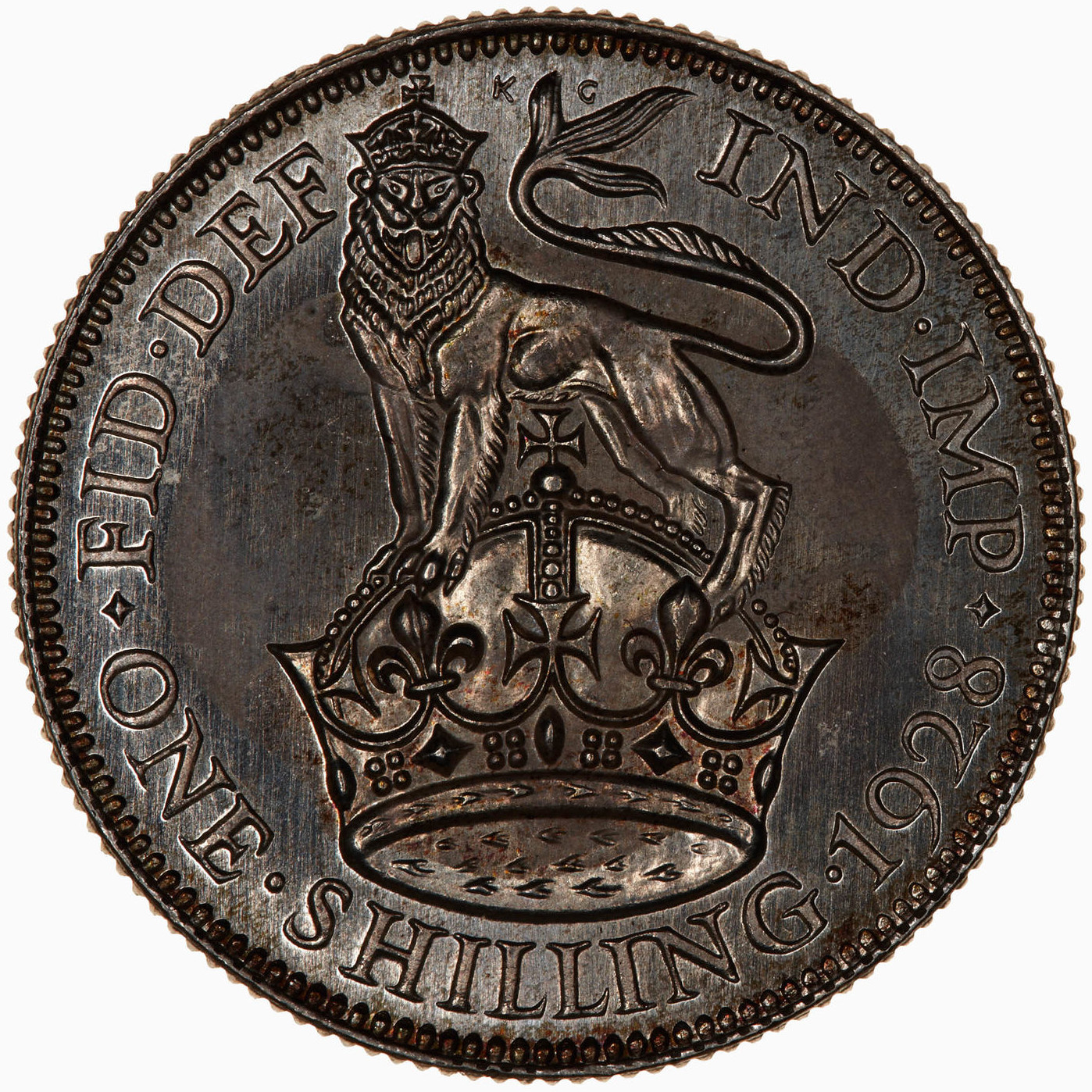 Shilling Lion on Crown (Second Design): Photo Proof Coin - Shilling, George V, Great Britain, 1928
