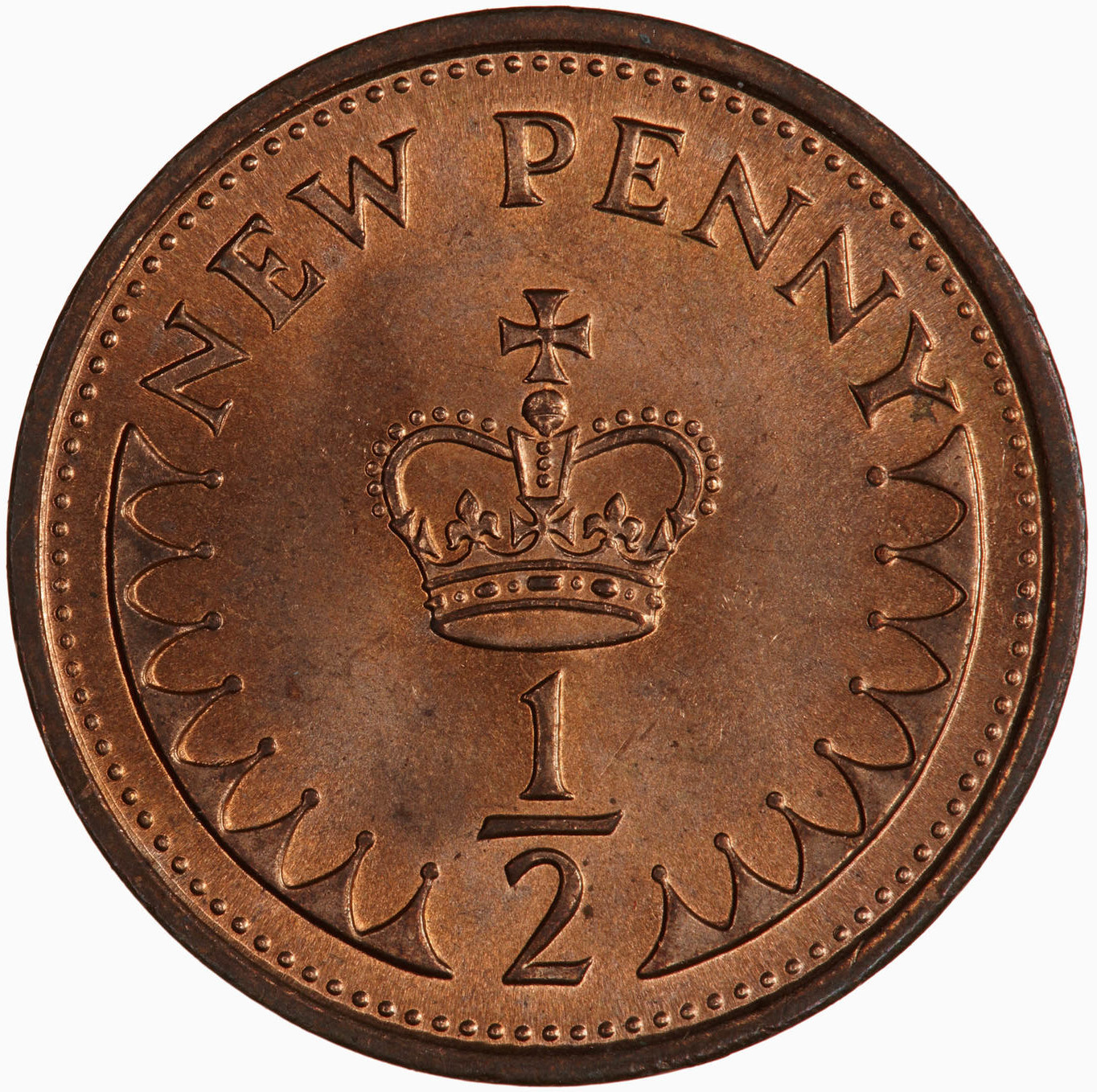 Half Penny 1976: Photo Coin - 1/2 New Penny, Elizabeth II, Great Britain, 1976