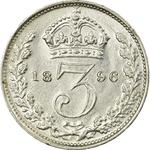 Threepence 1896 (Circulating): Photo Coin - Threepence, Queen Victoria, Great Britain, 1896