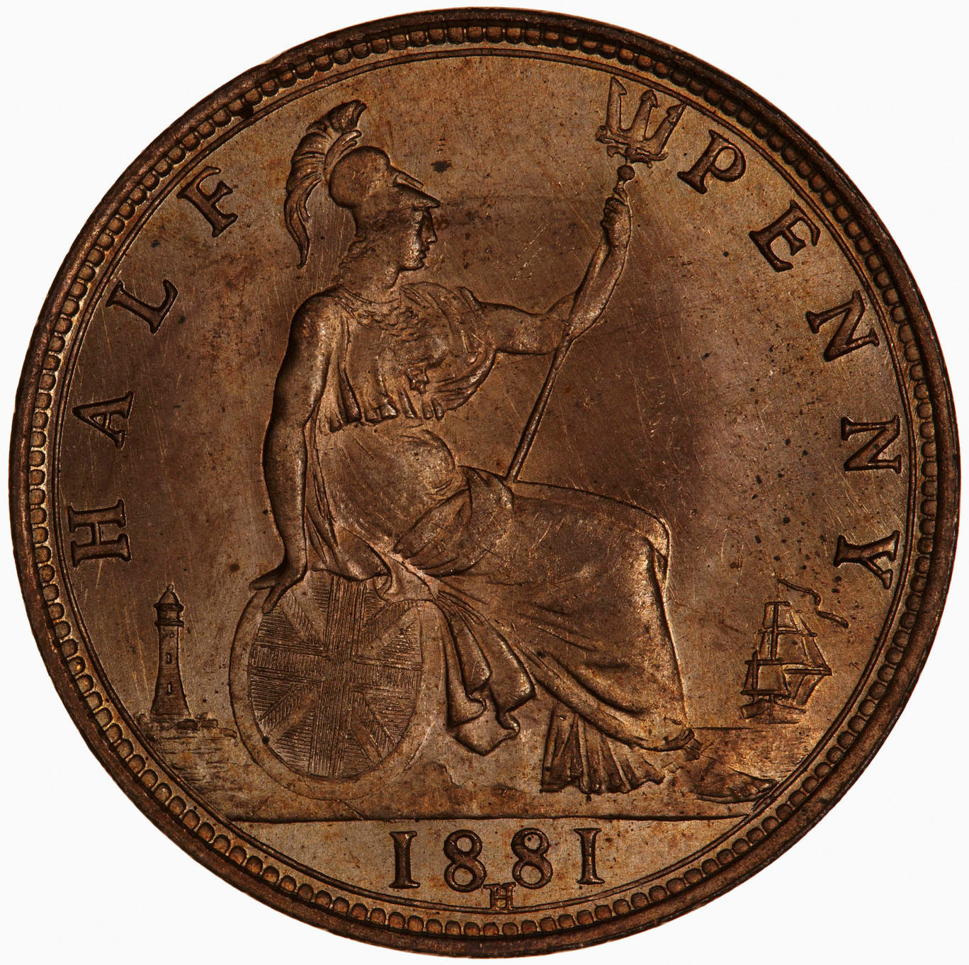 Halfpenny (Britannia, third design): Photo Museums Victoria Collections: Coin - Halfpenny, Queen Victoria, Great Britain, 1881