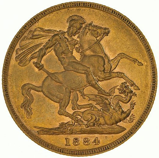 Sovereign 1884 St George: Photo Coin - Sovereign, Victoria, Australia, 1884