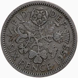 United Kingdom / Sixpence 1955 - reverse photo