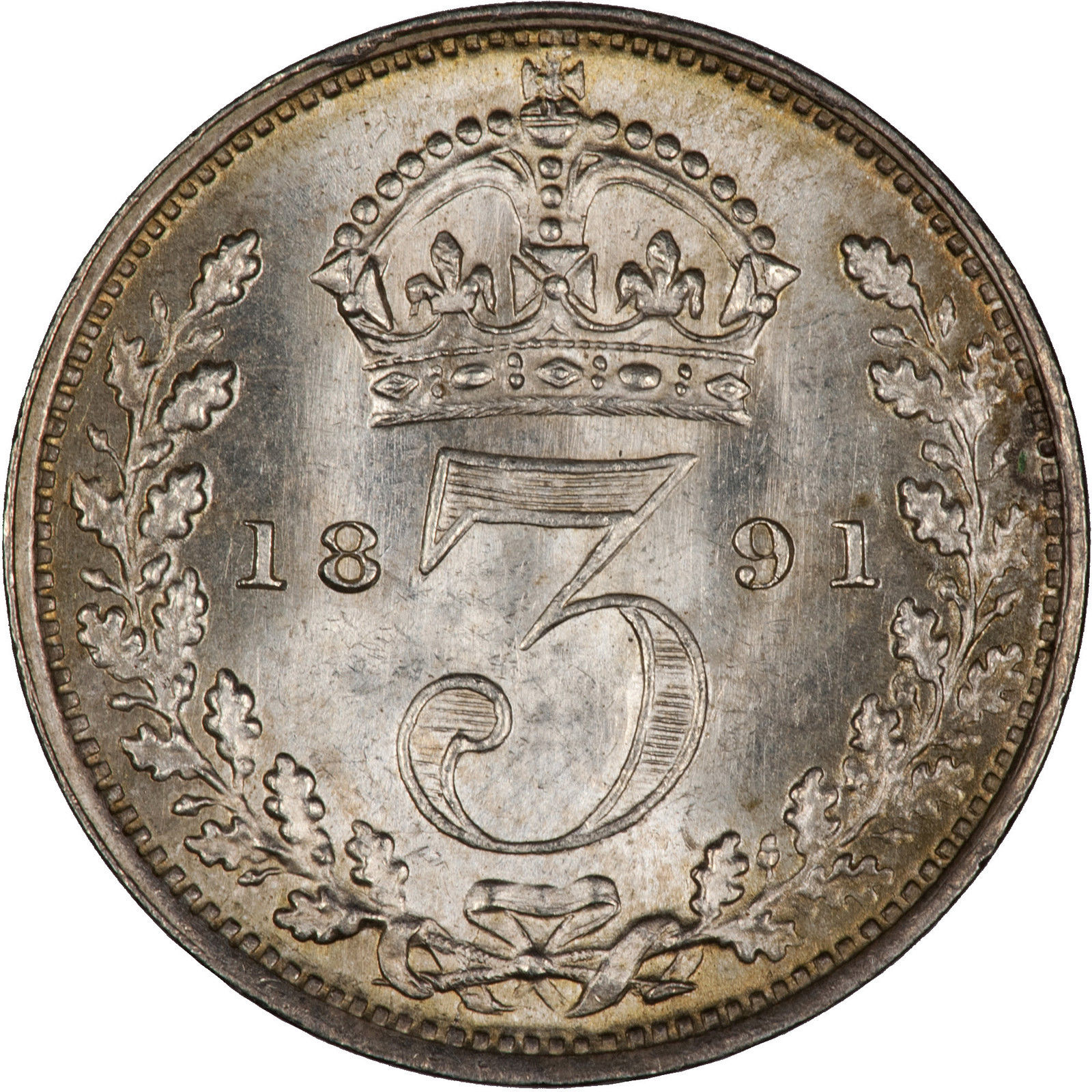 Threepence (Circulating): Photo Great Britain 1891 3 Pence