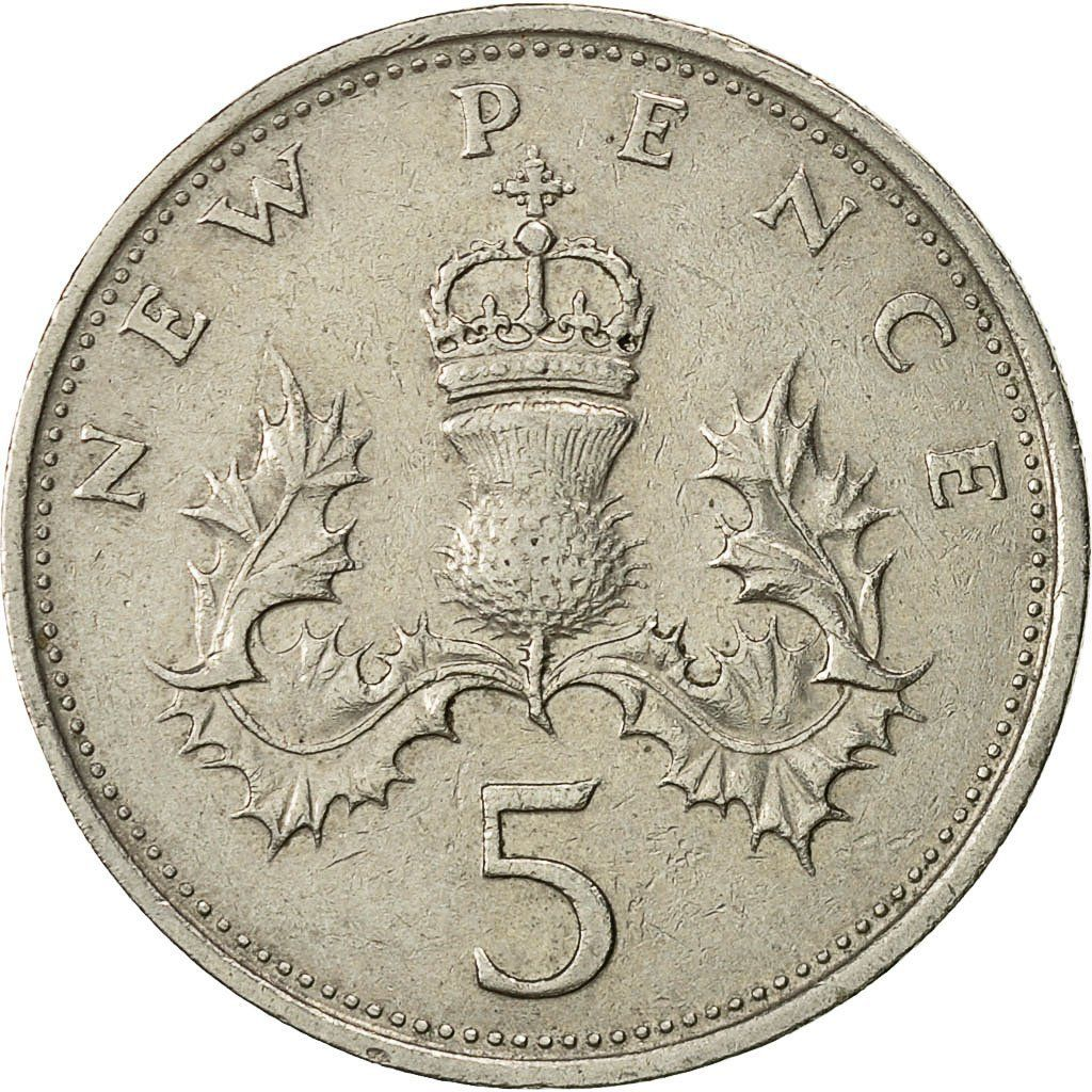 Five Pence 1971: Photo Great Britain, Elizabeth II, 5 New Pence, 1971
