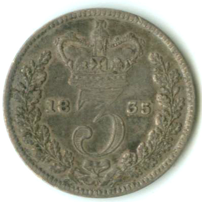 Threepence 1835 (Circulating): Photo Great Britain 1835 3 pence