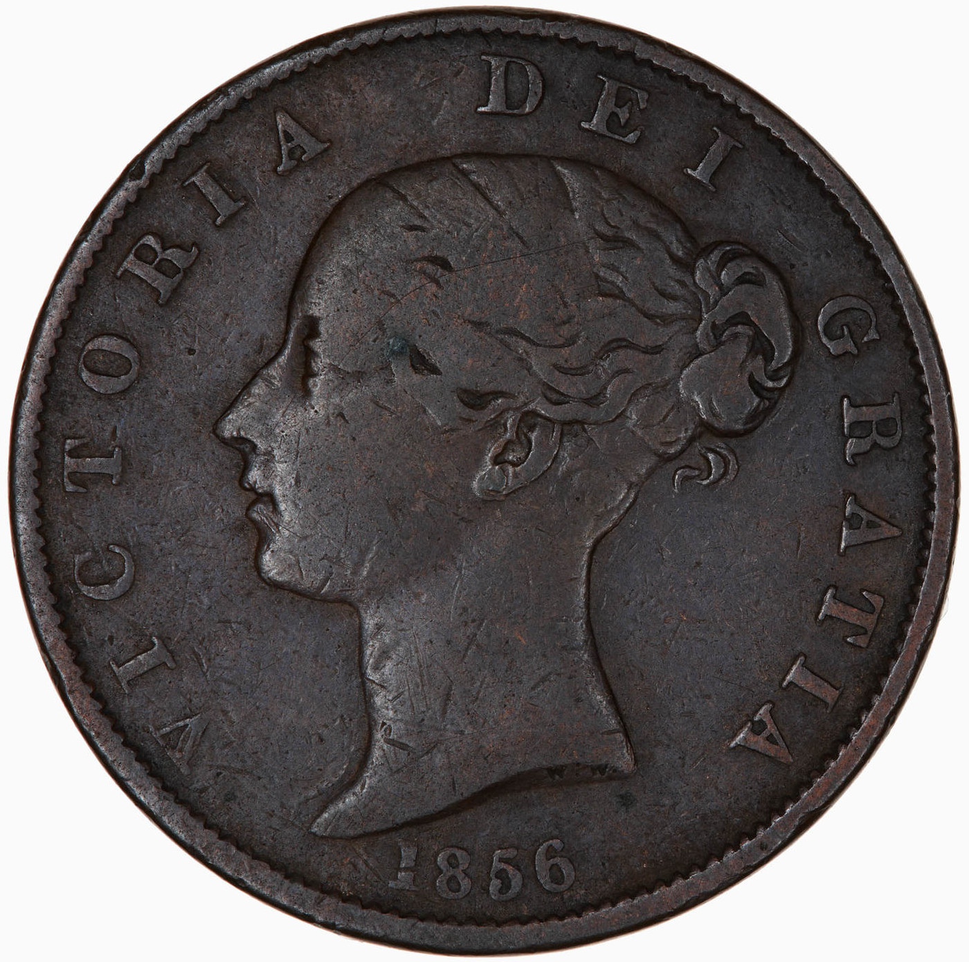 Halfpenny 1856: Photo Coin - Halfpenny, Queen Victoria, Great Britain, 1856