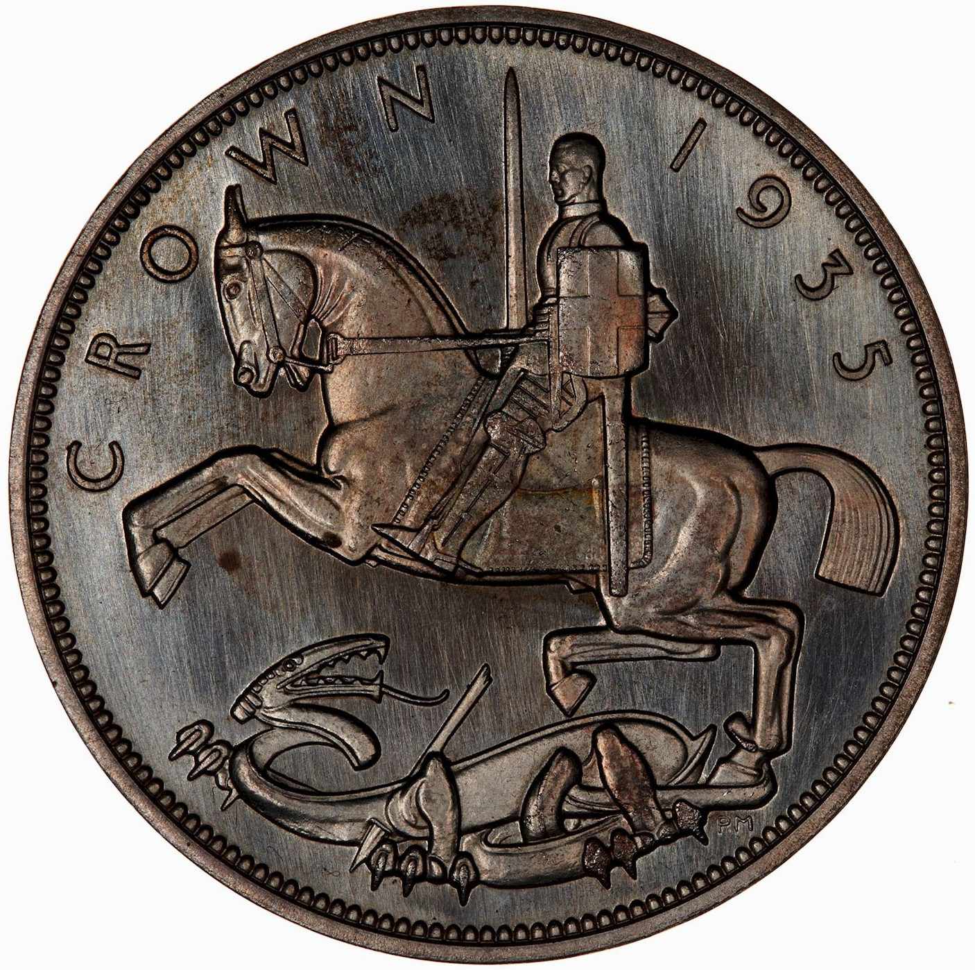 Crown 1935 Rocking Horse: Photo Coin - Crown, Silver Jubilee George V, Great Britain, 1935
