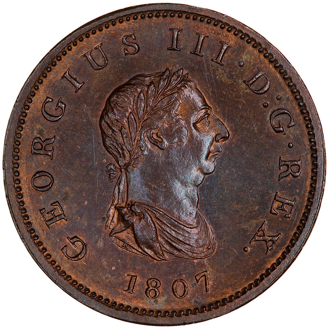 Halfpenny 1807: Photo Coin - Halfpenny, George III, Great Britain, 1807