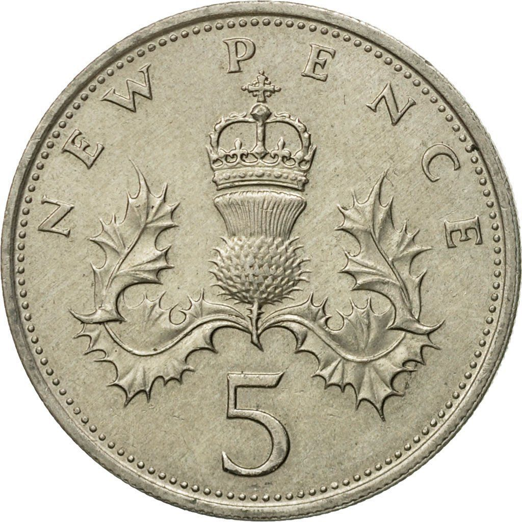Five Pence 1968: Photo Coin, Great Britain, Elizabeth II, 5 New Pence, 1968