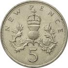 United Kingdom / Five Pence 1968 - reverse photo