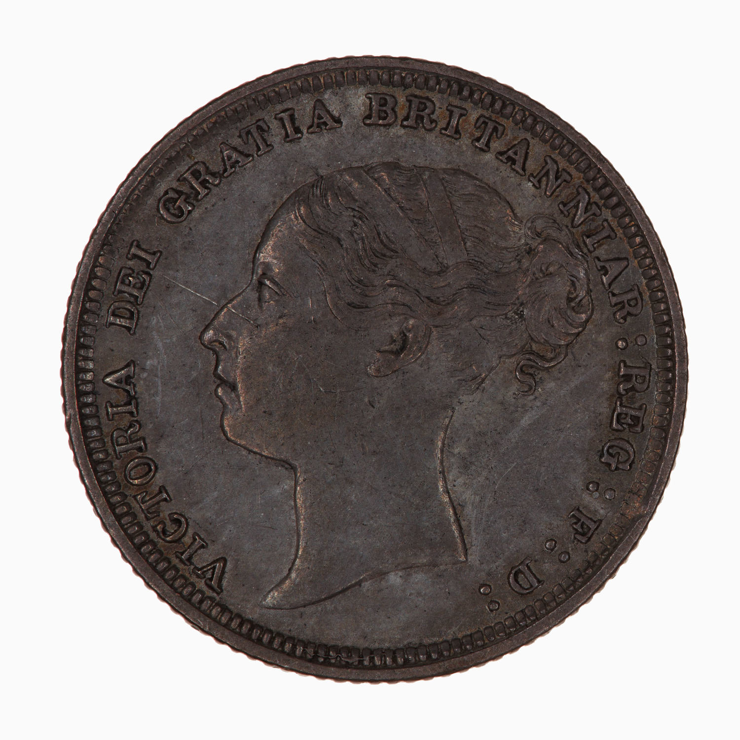 Sixpence 1887 Old Wreath Design: Photo Coin - Sixpence, Queen Victoria, Great Britain, 1887