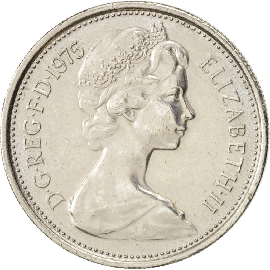 Five Pence: Photo Coin, Great Britain, 5 Pence, 1975