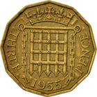 Threepence 1955 (Brass): Photo Great Britain 1956 3 pence