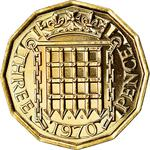 United Kingdom / Threepence 1970 (Brass, proof only) - reverse photo