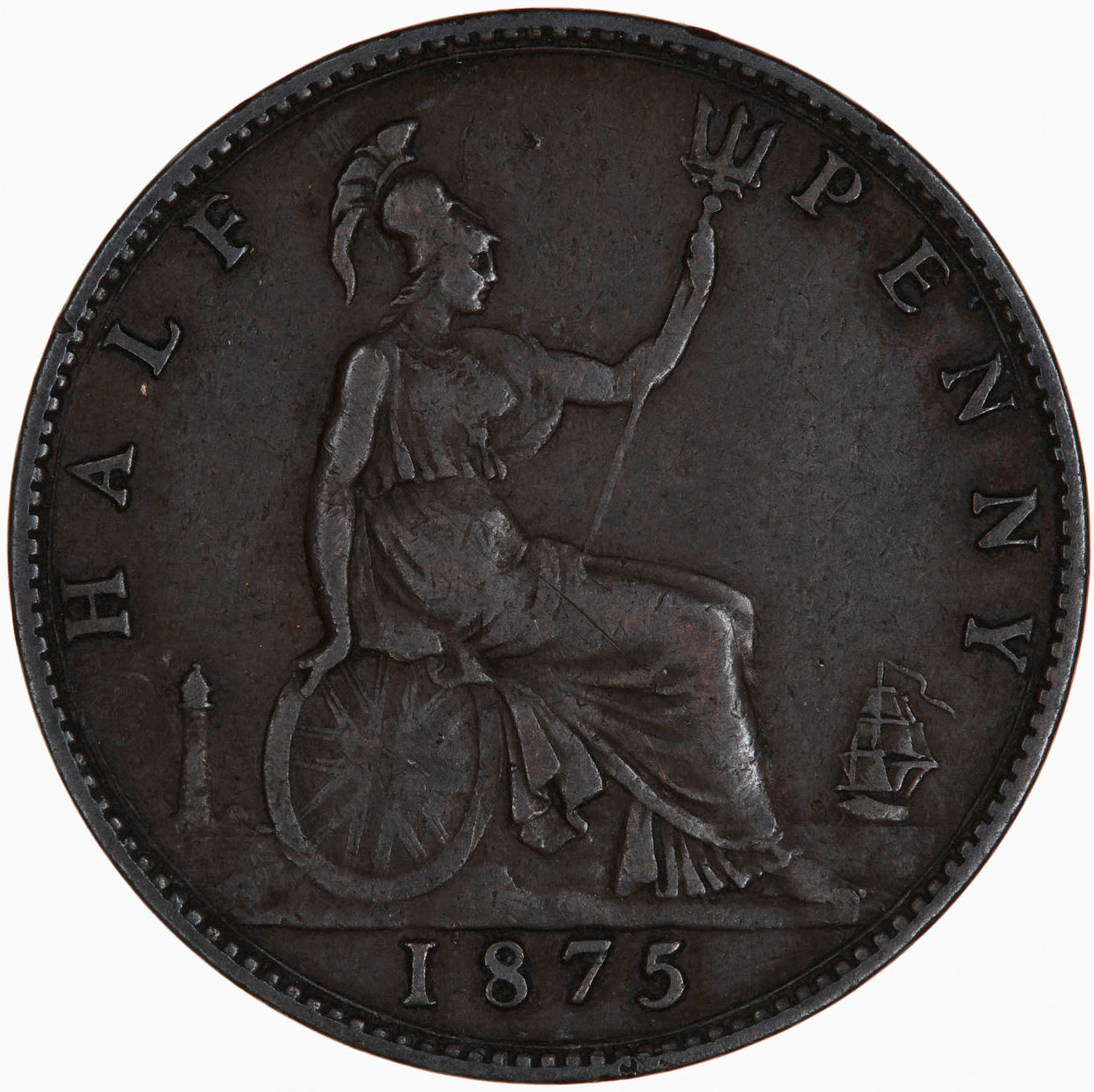 Halfpenny 1875: Photo Coin - Halfpenny, Queen Victoria, Great Britain, 1875