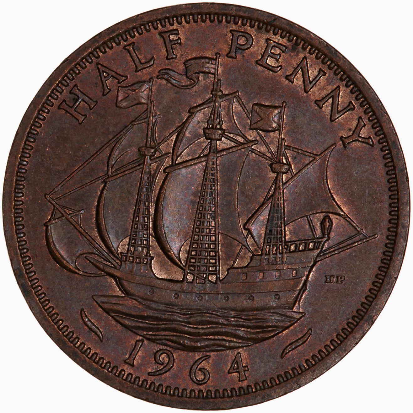 Halfpenny 1964: Photo Coin - Halfpenny, Elizabeth II, Great Britain, 1964