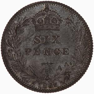 United Kingdom / Sixpence 1887 New Wreath Design - reverse photo