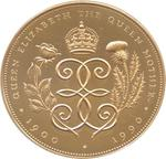 United Kingdom / Five Pounds 1990 Queen Mother / Gold Proof FDC - reverse photo