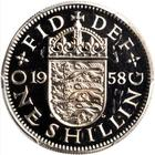 Shilling 1958 English: Photo Great Britain 1958 shilling KM-904
