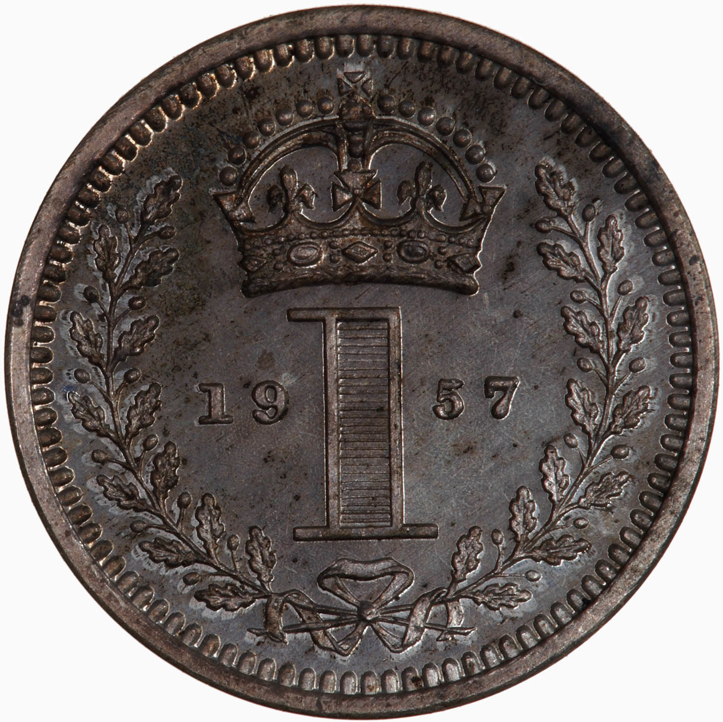 Penny 1957 (Maundy): Photo Coin - Penny (Maundy), Elizabeth II, Great Britain, 1957