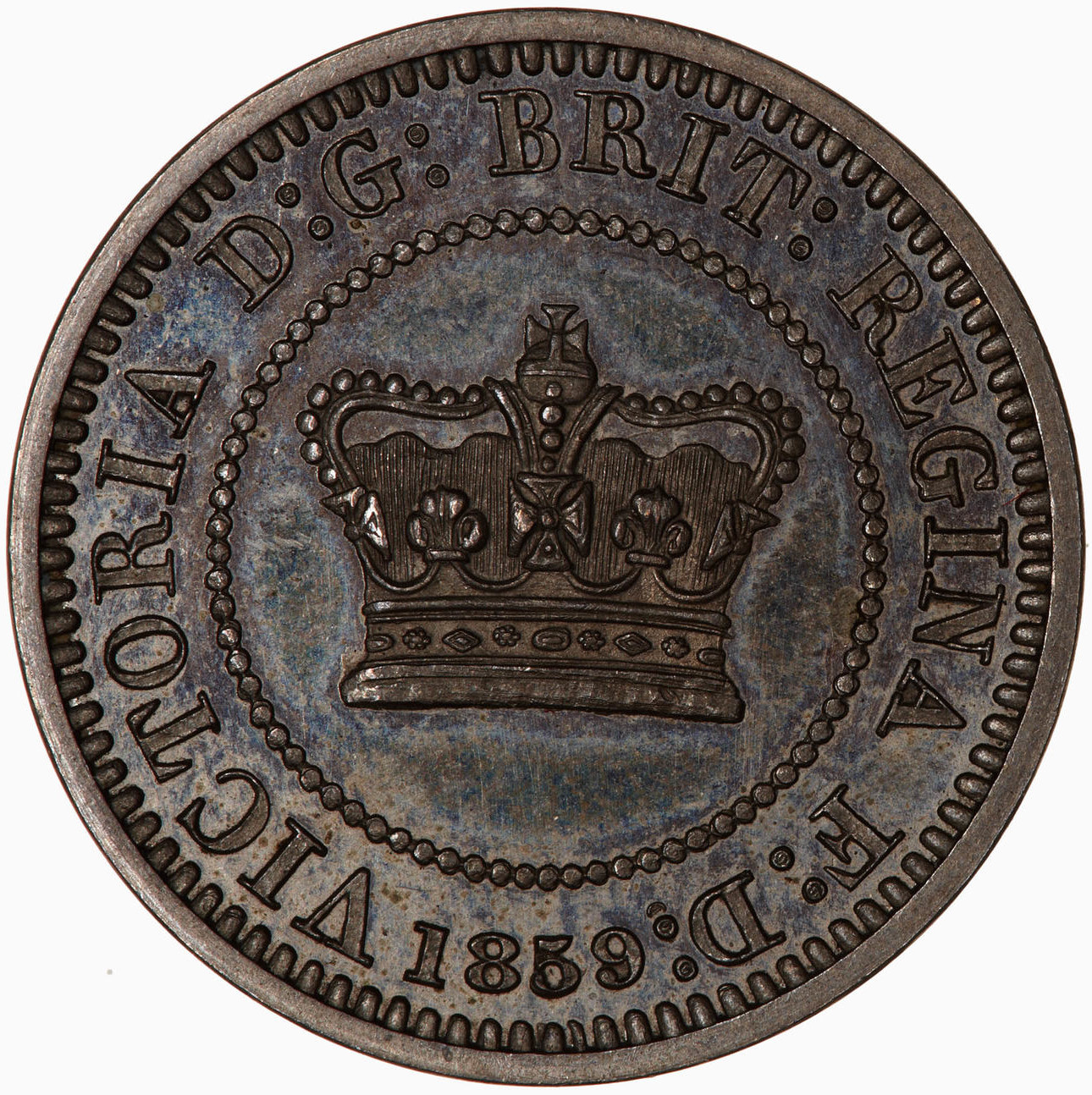 Penny (Pattern): Photo Pattern Coin - Penny, Queen Victoria, Great Britain, 1859