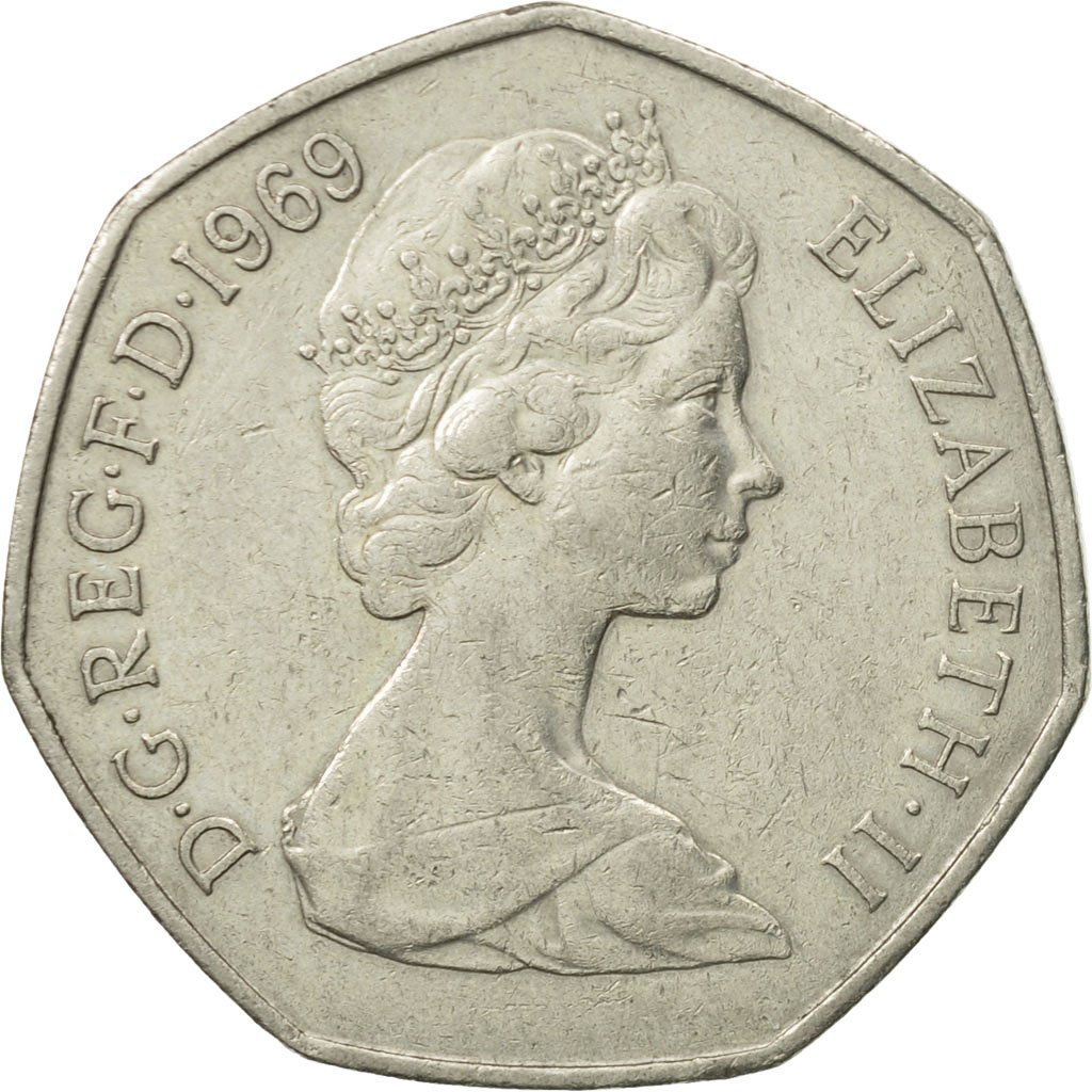 Fifty Pence 1969: Photo Coin, Great Britain, Elizabeth II, 50 New Pence, 1969