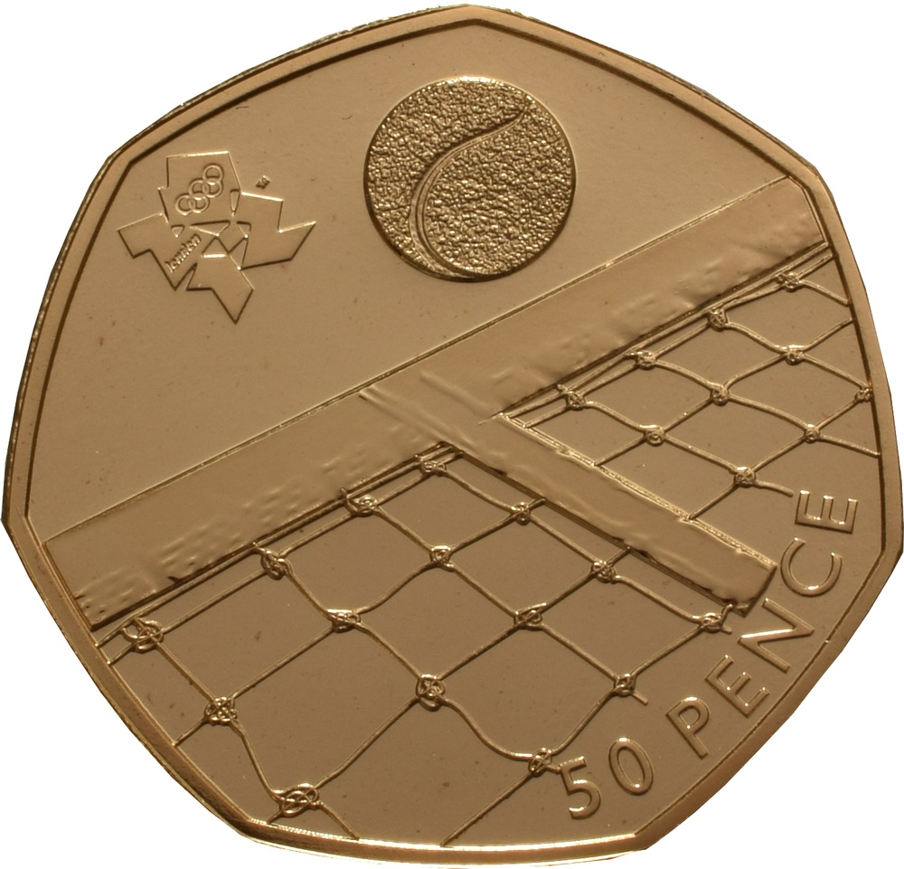 Fifty Pence 2012 - London 2012 - Tennis (Gold): Photo The London 2012 50p Gold Proof Piedfort Olympic Tennis Coin