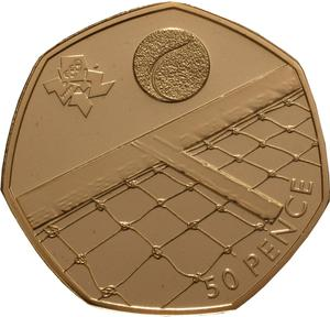 United Kingdom / Fifty Pence 2012 - London 2012 - Tennis (Gold) - reverse photo