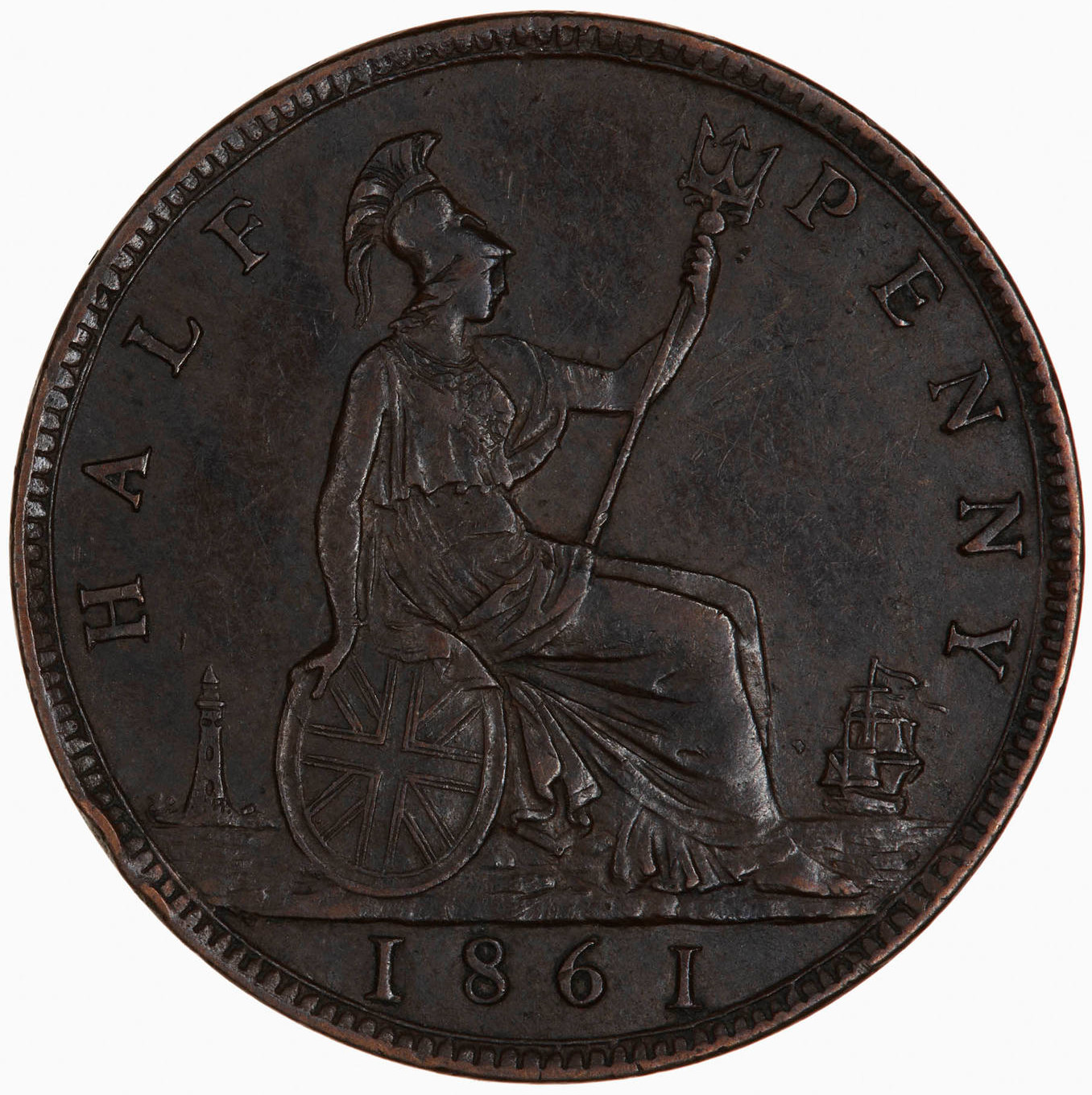 Halfpenny 1861: Photo Coin - Halfpenny, Queen Victoria, Great Britain, 1861