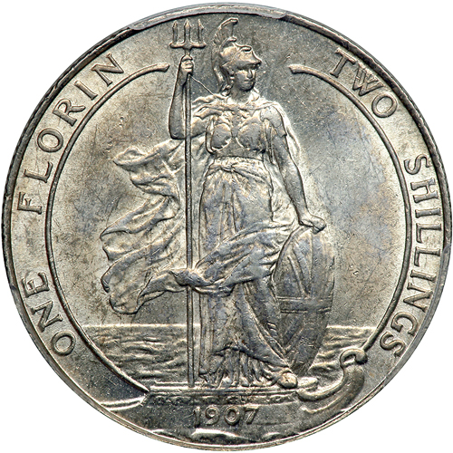 Florin Britannia: Photo Great Britain 1907 florin