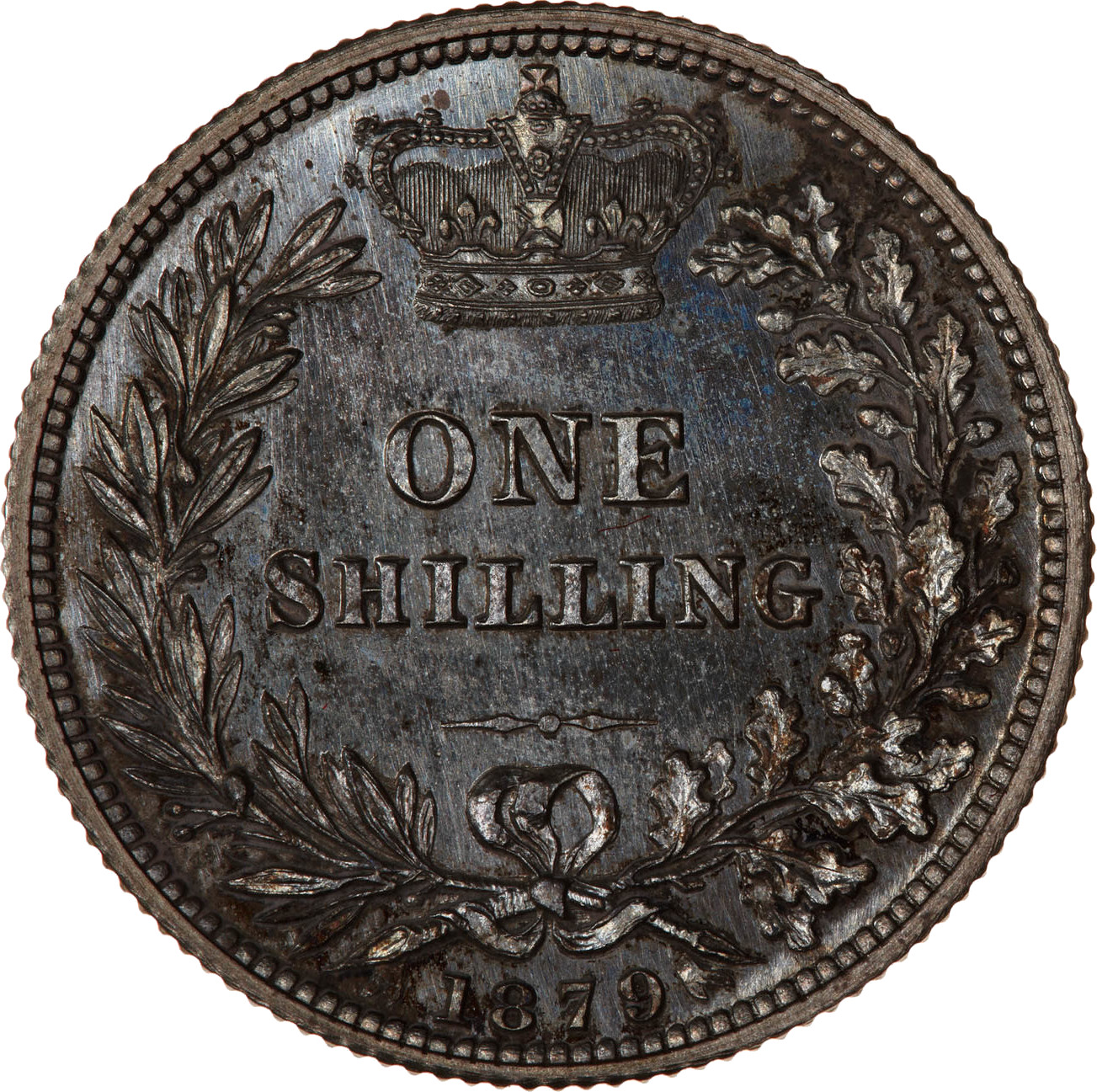 Shilling 1879: Photo Proof Coin - Shilling, Queen Victoria, Great Britain, 1879