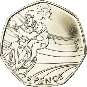 United Kingdom / Fifty Pence 2011 - London 2012 - Cycling - reverse photo