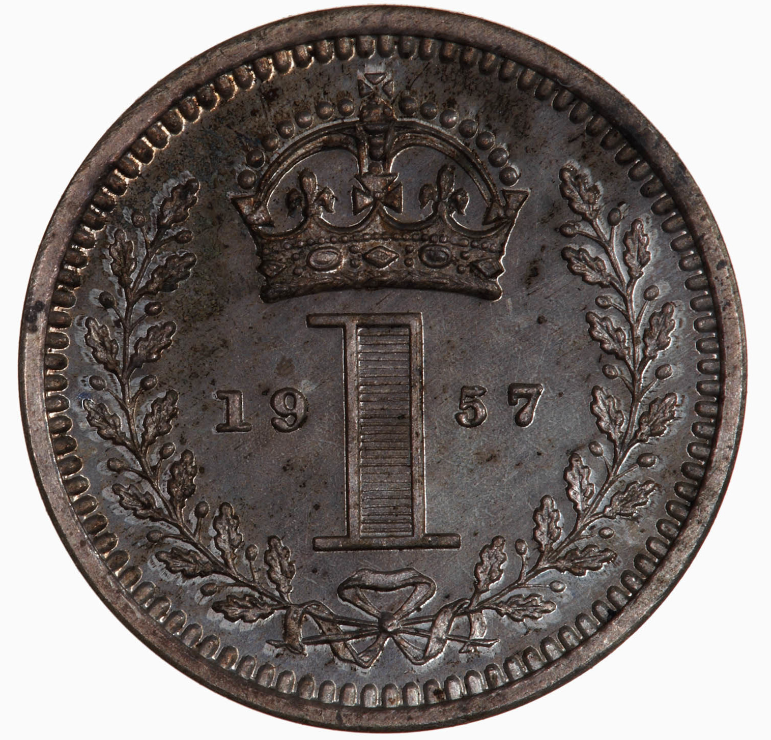 Maundy Penny (Pre-decimal): Photo Coin - Penny (Maundy), Elizabeth II, Great Britain, 1957